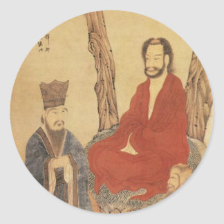 Confucius, Lao-tzu and Buddhist Arhat Round Sticker