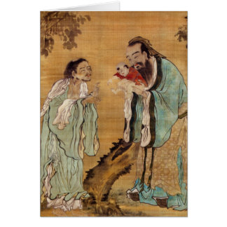Confucius presenting Buddha to Laozi Card