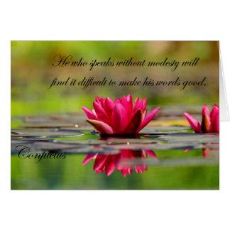 Confucius Quotes with Lotus Flower Card