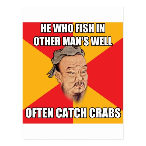 Confucius Say Catch Crabs Post Card