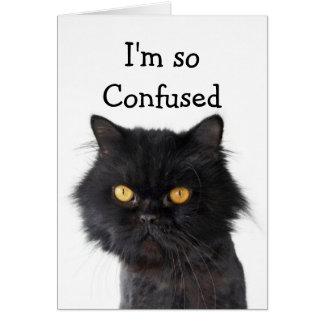 Confused Black Persian Cat Happy Birthday Card