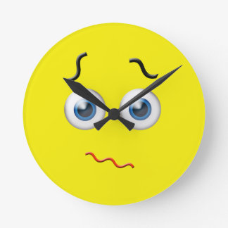 Confused Emoji Round Clock