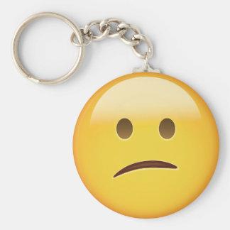 Confused Face Emoji Key Ring