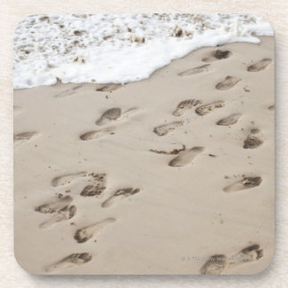 Confused Footsteps in the sand Coaster