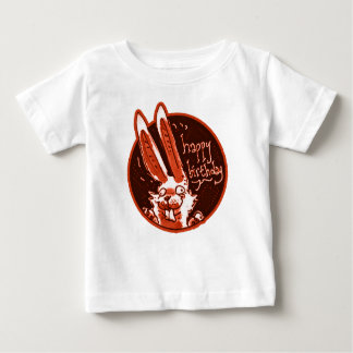 confused funny rabbit says happy birthday cartoon baby T-Shirt