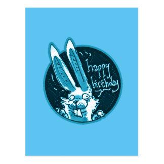 confused funny rabbit says happy birthday cartoon postcard