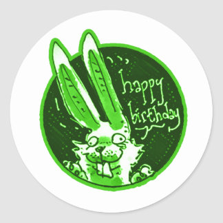 confused funny rabbit says happy birthday cartoon round sticker