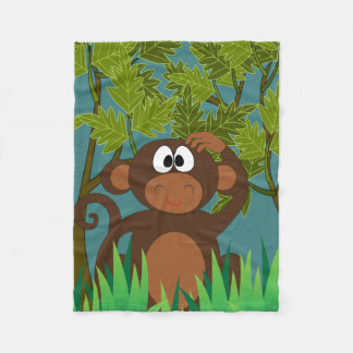 Confused Monkey Finding His Way Home Fleece Blanket
