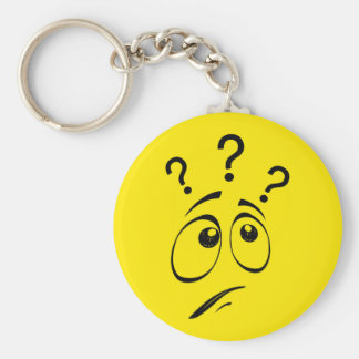 Confused Yellow Smiley Face Basic Round Button Key Ring
