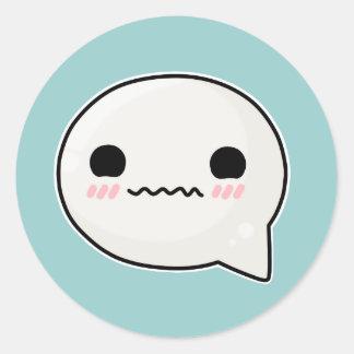 Confuzzled Face Sad Round Sticker