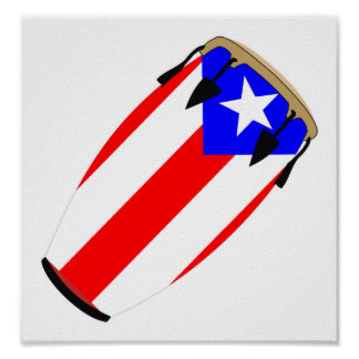 Conga Flag Puerto Rico Poster