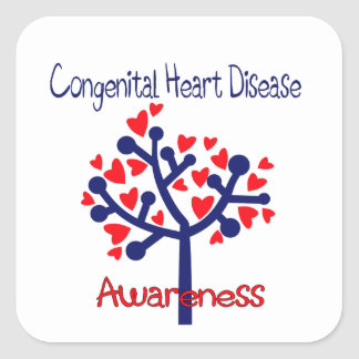 Congenital heart disease awareness square sticker