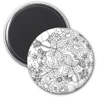 Conglomeration of Flowers 6 Cm Round Magnet