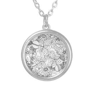 Conglomeration of Flowers Silver Plated Necklace