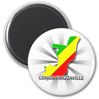 Congo Brazzaville Flag Map 2.0 Magnet