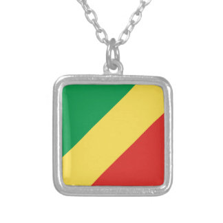 Congo-Brazzaville Flag Silver Plated Necklace