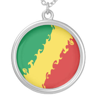 Congo-Brazzaville Gnarly Flag Round Pendant Necklace
