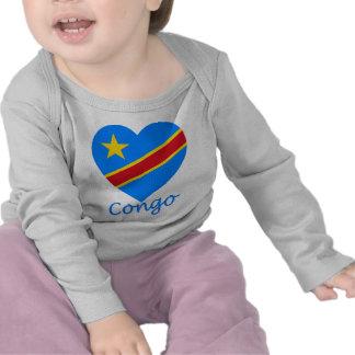 Congo Democratic Republic Flag Heart Tees