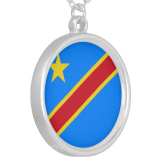 Congo - Democratic Republic of the Congo Flag Silver Plated Necklace