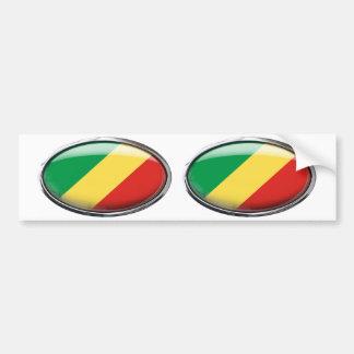 Congo Flag Glass Oval Bumper Sticker
