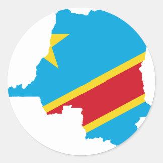 Congo Flag map  CD Round Sticker