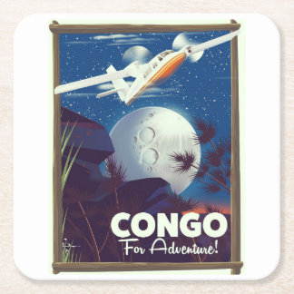 Congo For Adventure! travel poster Square Paper Coaster