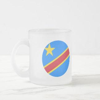 Congo-Kinshasa Flag Frosted Glass Coffee Mug