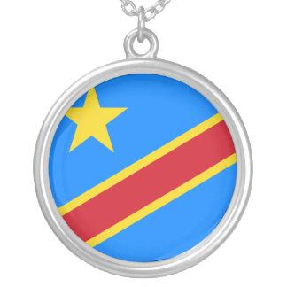 Congo-Kinshasa Flag Silver Plated Necklace