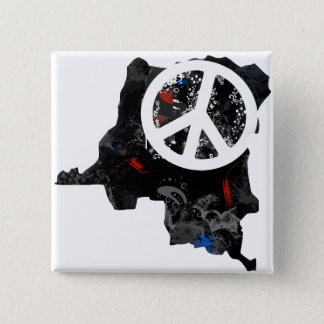 Congo Kinshasa Trendy Peace Sign with Congolese ma 15 Cm Square Badge