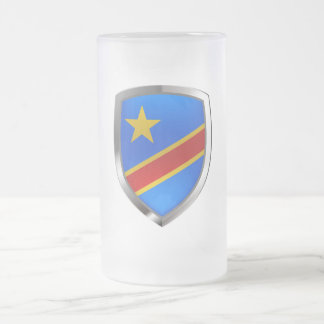 Congo Mettalic Emblem Frosted Glass Beer Mug