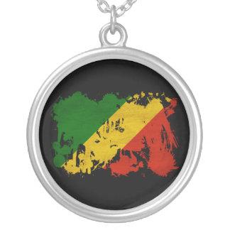 Congo Republic Flag Round Pendant Necklace
