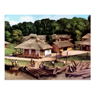 Congo village acrylic painting postcard