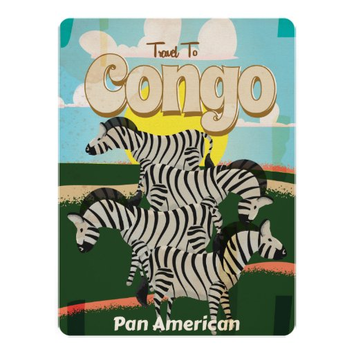 Congo Vintage Travel Poster Custom Invitations