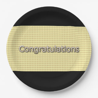 Congrats-Abstract-Gold-Multi-Sz Paper Plate
