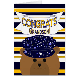 Congrats Active Duty Grandson Greeting Card
