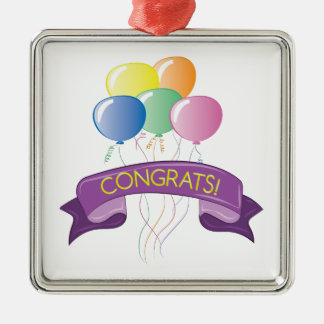 Congrats Balloons Silver-Colored Square Decoration