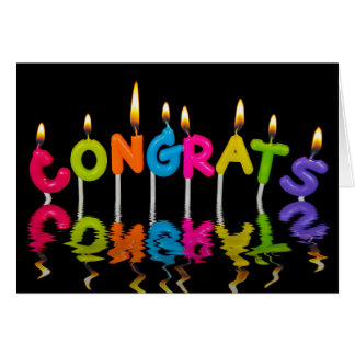 congrats candle in water reflection card