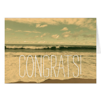"""CONGRATS!"" Congratulations Card with Ocean Waves"