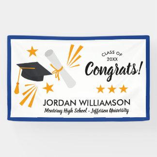 Congrats Grad Cap Diploma Blue Graduation Party Banner