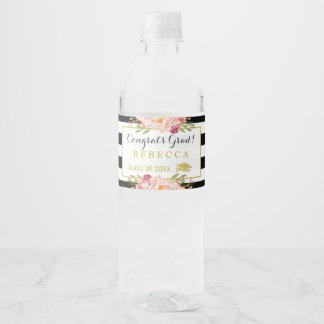 Congrats Grad Floral Stripes Glam Graduation Party Water Bottle Label