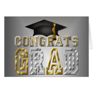 Congrats Grad Graduation - Black Silver Gold Card