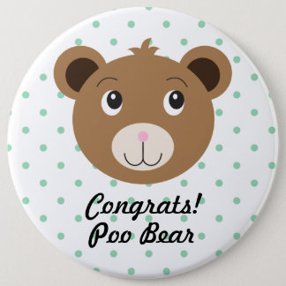 Congrats Poo Bear Dot Green Cute Colossal Button