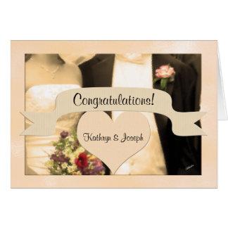 Congratulate the Bride and Groom Sepia Couple Card
