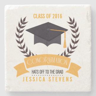 Congratulation Graduation Black Hat And Wreath Stone Coaster