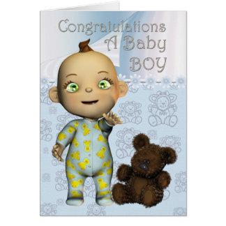 Congratulations A Baby Boy Card with cartoon