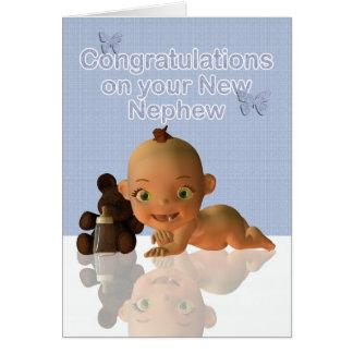 Congratulations A Beautiful Baby boy Greeting Card