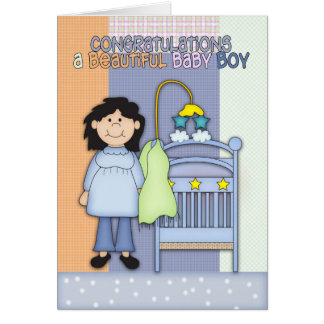 Congratulations A Beautiful Baby Boy Greeting Card