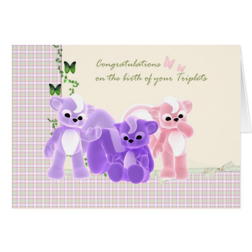 Congratulations Baby Triplets Card, New Baby