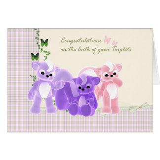 Congratulations Baby Triplets Card, New Baby Greeting Card
