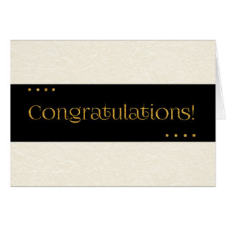 Congratulations Beige and Black Greeting Card